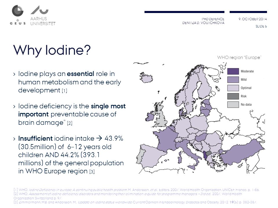 Why Iodine WHO region Europe Iodine plays an essential role in human metabolism and the early development [1]